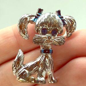 Vintage Dog brooch Pin GERRYS Puppy Rhinestone